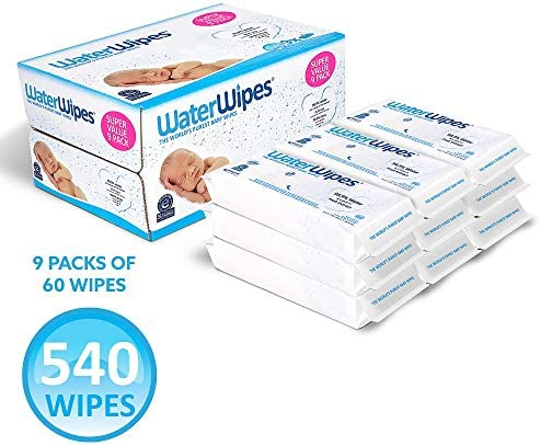 51EUq8F7uDL. AC - WaterWipes Unscented Baby Wipes, Sensitive And Newborn Skin, 9 Packs (540 Wipes)