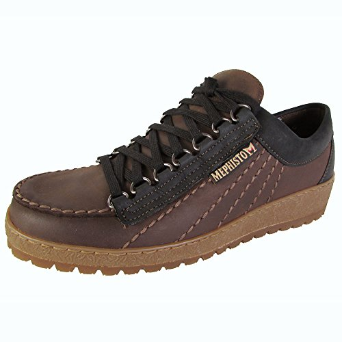Mephisto Originali Mens Rainbow Lace Up Moc Toe Sneaker Scarpe Marrone Scuro / Nero Rainbuck