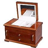 UBRTools Best Wooden Jewelry Case 3 Layers Storage Box Necklace Organizer Display Gift