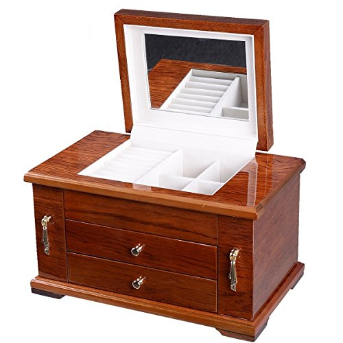 UBRTools Best Wooden Jewelry Case 3 Layers Storage Box Necklace Organizer Display Gift by UBRTools