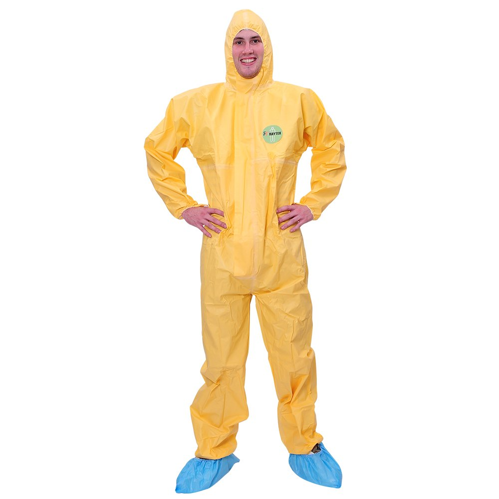 Raytex Yellow Disposable Chemical Protection Coveralls with Hood Elastic Cuffs Serged Seam Front Zipper Closure Suits for Hazardous Processing Cleaning Workwear XL