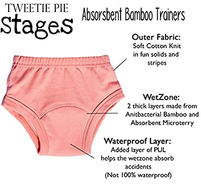 Stages Bamboo Cloth Potty Training Pants - Boys or Girls Toddler Underwear - Medium 3T