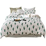 AMWAN Cactus Flower Duvet Cover Set for Kids Girls Cotton Full Queen Bedding Set Fresh Reversible Striped Duvet Comforter Cover Set Soft Floral Teens Boys Bedding Collection 3 Piece Cotton Bed Set
