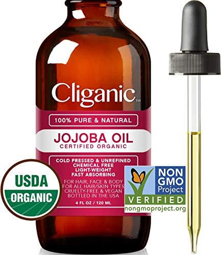 Cliganic USDA Organic Jojoba Oil, 100% Pure (4oz Large) | Natural Cold Pressed Unrefined Hexane Free Oil for Hair & Face | Base Carrier Oil | Cliganic 90 Days Warranty (Difference Between Coconut Oil And Coconut Cream)