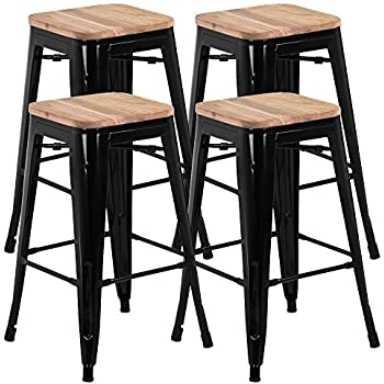 Amazoncom Yaheetech 26 Barstools Set Of 4 Counter Height Metal