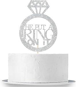 He Put A Ring On It Cake Topper, Silver Glitter Wedding Engagement, Bachelorette, Bridal Shower Cake Decor