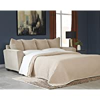 Benchcraft Wixon 5700339 88 Pull-Out Fabric Queen Sofa Sleeper with Memory Foam Mattress Flared Track Arms and Loose Seat Cushions in Putty