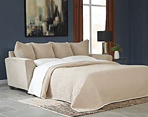 """Benchcraft Wixon 5700339 88"""" Pull-Out Fabric Queen Sofa Sleeper with Memory Foam Mattress Flared Track Arms and Loose Seat Cushions in Putty"""