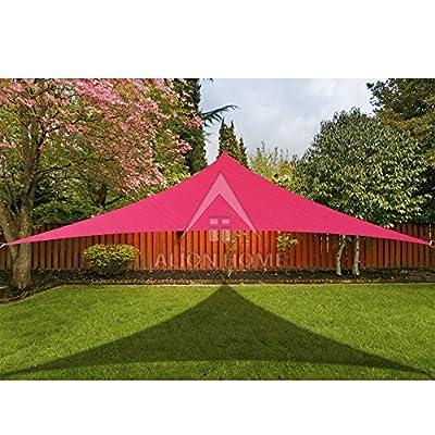 Alion Home 14' x 14' x 19.8' Right Triangle PU Waterproof Woven Sun Shade Sail Custom (1, Burgundy Red) : Garden & Outdoor
