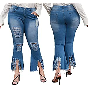 Bell bottom jeans for women constructed from premium denim fabric,bodycon style to enhance the body's natural silhouette, while creating a slimmer, more streamlined look. Ripped jeans for women,This raw hem denim pants are easy to wear,the high rise waist highlights your charming figure.Strut in the hottest distressed jeans of the season! Zipper closure