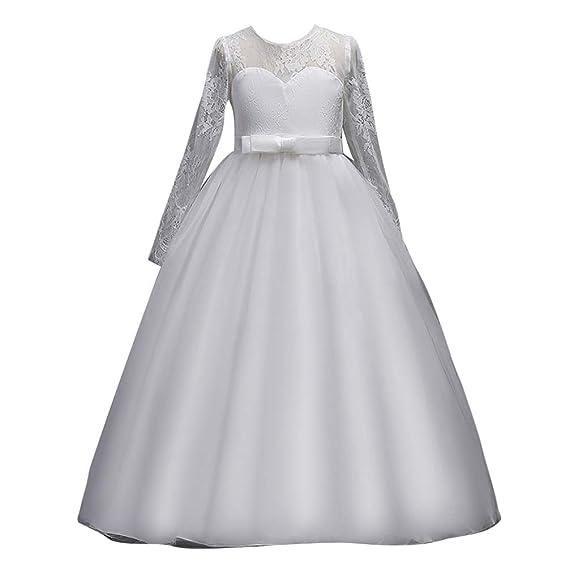 eb70a27eee4be YuanDiann Fille Enfant Mariage Demoiselle d honneur Maxi Robe Manche  Longueue Dentelle Fil Net Plissé