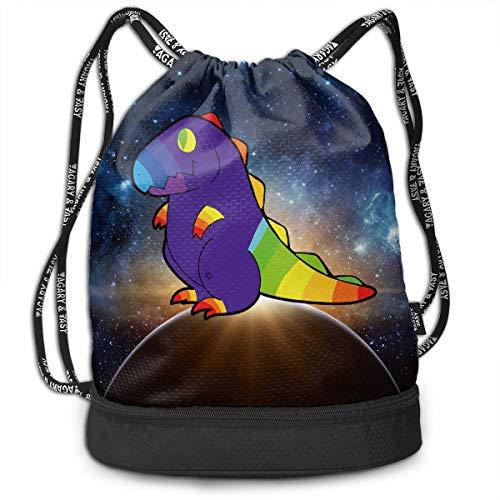 YyTiin Moon Chibi Dinosaur Dark Purveyor Unisex Waterproof Drawstring Backpack Sports Dance Storage Bags Sackpack Gym Traveling Outdoor ()