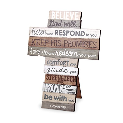 (Lighthouse Christian Products Small Believe Stacked Wood Wall/Desktop Cross)