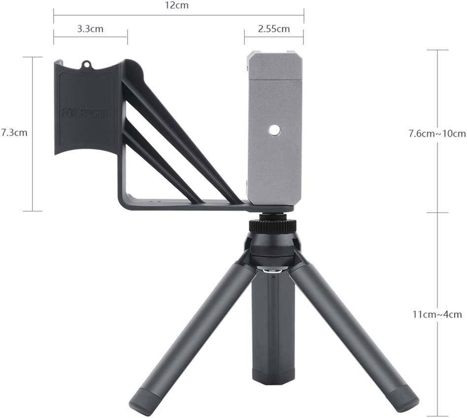Sixsons Foldable Metal Tripod for Phone Holder Adapter Clip Portable Travel Selfie Tripod for DJI Osmo Pocket Handheld Gimbal Camera Photography Accessory