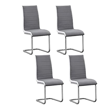 Excellent Huiseneu Modern Grey Dining Chairs Set Of 4 For Kitchen Faux Unemploymentrelief Wooden Chair Designs For Living Room Unemploymentrelieforg