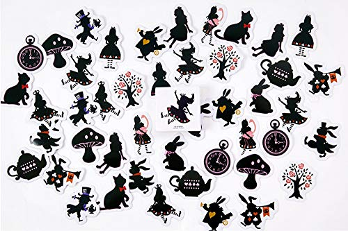 (45 pcs / box Princess Girl Fairy Tale Rabbit paper sticker Cute animals black cat decoration diy diary scrapbooking sticker children stationery )