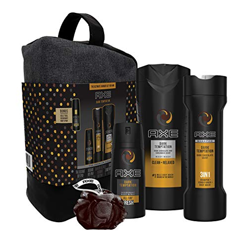 AXE 6-Pc Dark Temptations Shower Gift Set with BONUS Trial Deo Body Spray (Body Spray, Body Wash, 3 in 1 Shampoo + Conditioner + Body Wash, Shower Bag, Pouf)