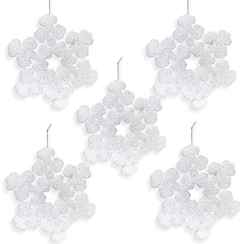 BANBERRY DESIGNS Large Snowflake Decorations - Set of 5 Foam White Glitter Snowflakes - 12
