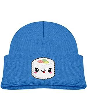 Kids Knitted Beanies Hat Kawaii Sushi Winter Hat Knitted Skull Cap for Boys Girls Blue