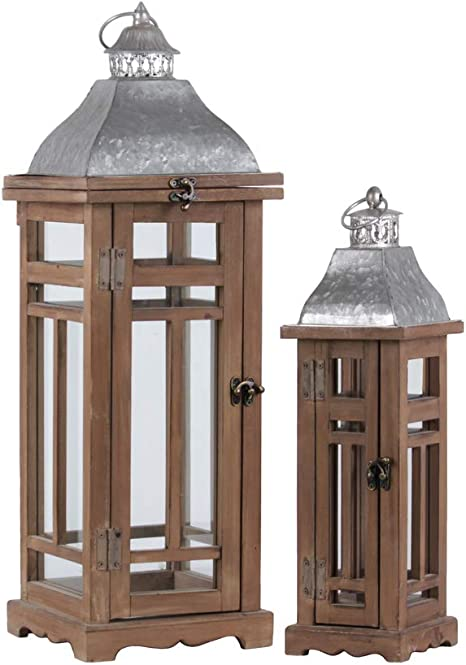 Amazon Com Benjara Traditional Wooden Lantern With Galvanized Top Set Of 2 Brown Gray Home Kitchen