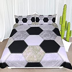 ARIGHTEX Soccer Ball Print Bedding Kids Sports Bedding Sets Football Duvet Cover Modern Hexagon Pattern Bed Sets (Twin)