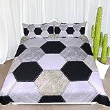 ARIGHTEX Soccer Ball Print Bedding Kids Sports Bedding Sets Football Duvet Cover Modern Hexagon Pattern Bed Sets (Twin)