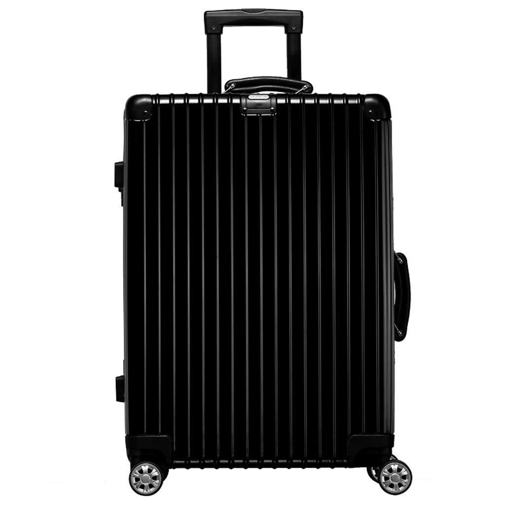 トロリーケース- 学生24インチの大容量のアルミニウムフレームのトロリー箱、普遍的な車輪のスーツケース、20インチの人および女性 (Color : Black, Size : 20in) B07V9SCBTH Black 20in