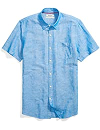 Men's Standard-fit Short-Sleeve Linen and Cotton Blend Shirt