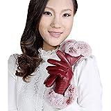 Women Gloves - SODIAL(R)Women Autumn Winter Warm Leather Gloves Rabbit Fur Touch Screen Gloves Evening Maroon