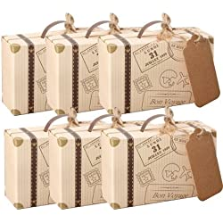 AmaJOY 50pcs Suitcase Wedding Favor Box with Kraft Card and Burlap Twine for Wedding Party Birthday Baby Shower Decoration