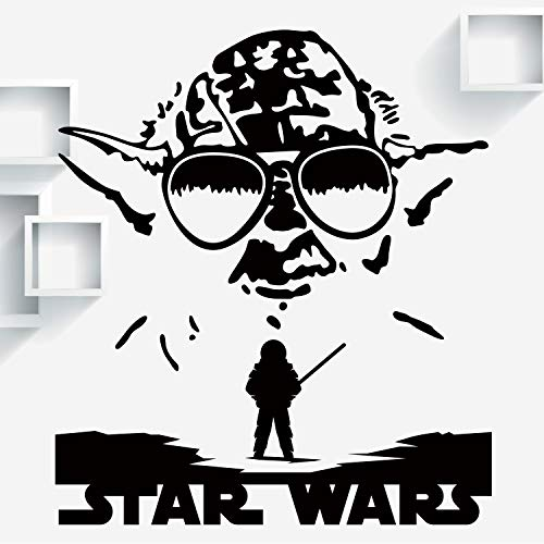 VODOE Yoda Wall Decal, Star Wars Wall Decal, Disney Cartoon Classroom Kids Baby Boys Girls Teens Bedroom Stickers Suitable for Roomates Family Living Vinyl Art Home Decor(Black 37.4 X 15.7inches) (Star Wars Cartoon Wall Decals)