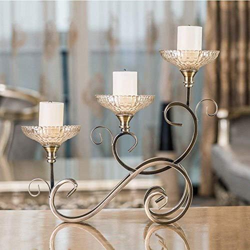 PLLP Candelabro Retro Candelabros de decoración Material de Hierro y Vidrio 3 Cabezas Artículos de hogar de Moda romántica...
