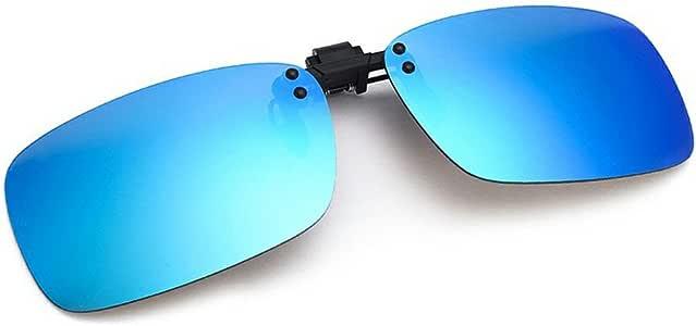 Cyxus Flash Polarized Mirrored Sunglasses Clip-On Glasses, Men & Women [Blue Flash]