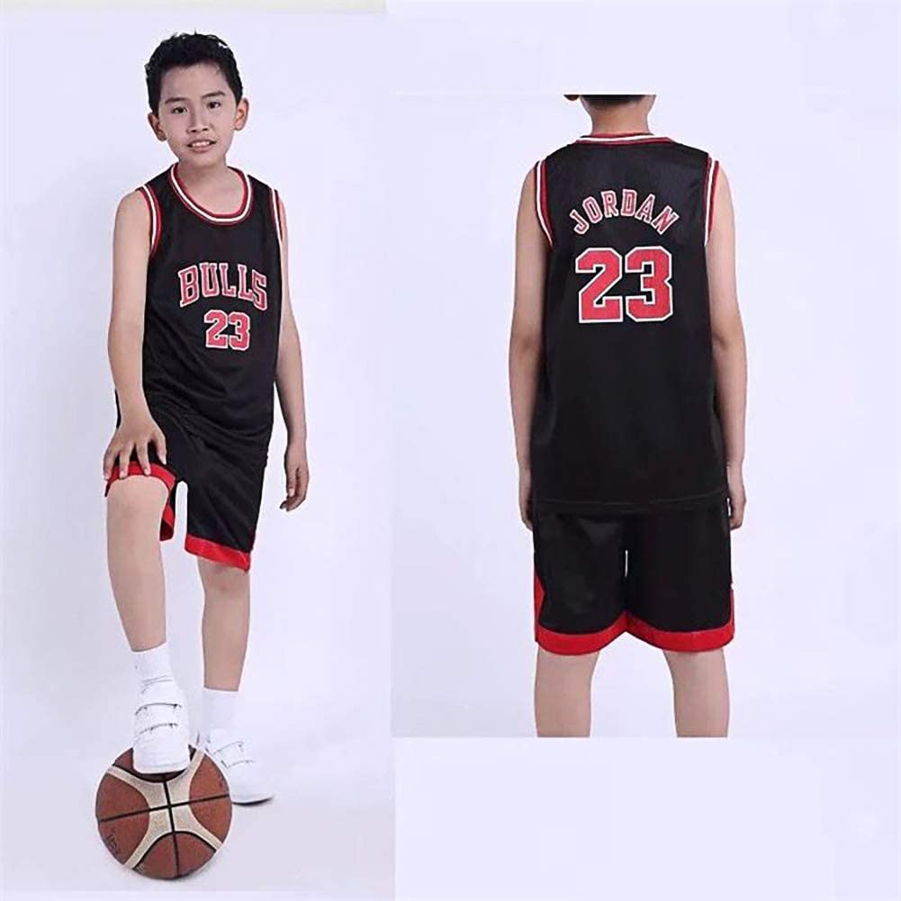 NBA – Camiseta para niños – NBA Bulls Jordan No. 23, Lakers James No. 23, Warriors Curry No. 30, Niños y niñas baloncesto camisetas Top y pantalones cortos de Chicago Bulls, Los