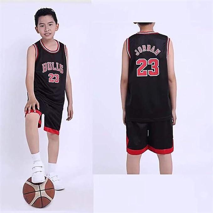NBA – Camiseta para niños – NBA Bulls Jordan No. 23, Lakers James No. 23, Warriors Curry No. 30, Niños y niñas baloncesto camisetas Top y pantalones cortos de Chicago Bulls, Los