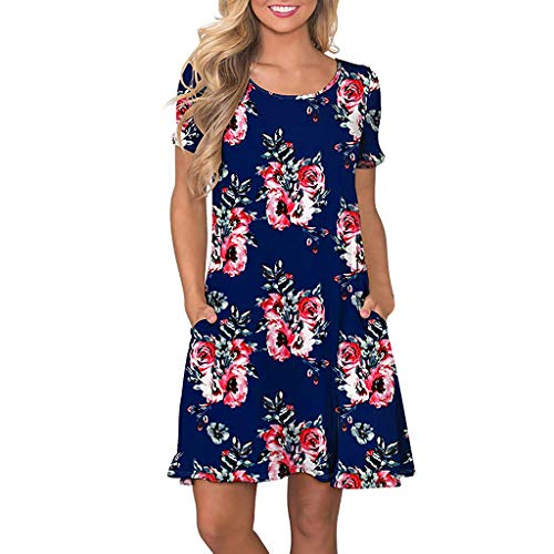 (Women's Summer Casual Floral Short Sleeve T Shirt Dresses Pleated Loose Swing Tunic Dress with Pockets Knee Length Blue)