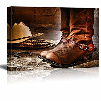 American West Rodeo Cowboy Pair of Traditional Leather Boots with Authentic Ranching Spurs with Hat and Rope Vintage Style - Canvas Art Wall Art - 16