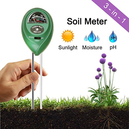 Ambox Soil pH Meter, 3-in-1 Soil Test Kit for Moisture, Light & pH, Soil Tester Moisture Meter for Garden, Lawn, Farm, Indoor & Outdoor Plants, Gardening Tools, Easy Read Indicator (No Battery Needed)