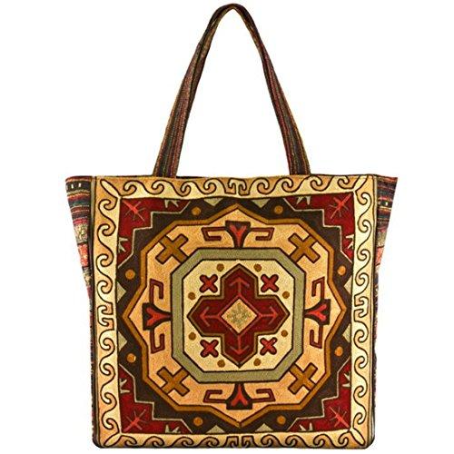 Vintage Bohemian Summer Embroidered Large Tote Bag Tapestry Shoulder Bag Women Handbag (orange&Brown) (Tapestry Tote Bag Purse)