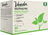 Veeda Natural All-Cotton Tampons, Regular, Compact Applicator, 90 Count
