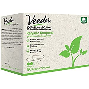 Veeda 100% Natural Cotton Compact BPA-Free Applicator Tampons Chlorine, Toxin and Pesticide Free, Regular, 90 Count 112