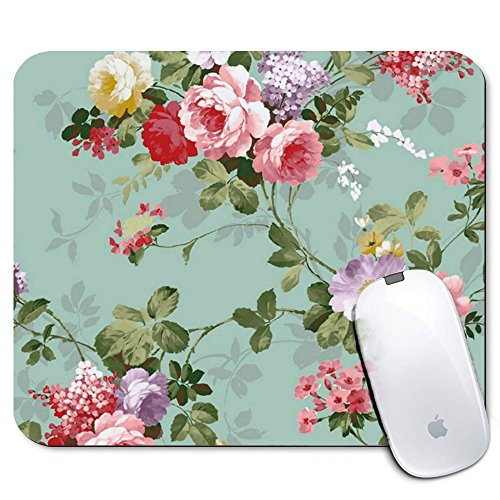 Personalized Rectangle Mouse Pad, Printed Flower Pattern, Non-Slip Rubber Comfortable Customized Computer Mouse Pad (9.45x7.87inch) (Circles Printed)