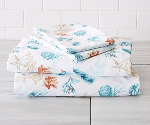 Great Bay Home Ultra-Soft Double-Brushed Coastal Printed Microfiber Sheet Set. Beautiful Patterns, Comfortable, All-Season Bed Sheets Brand. (Twin, Key West)
