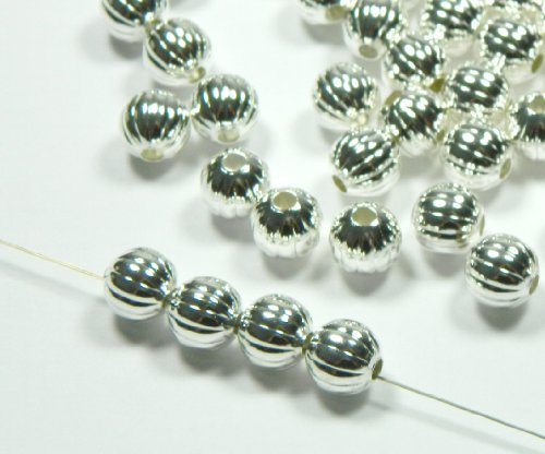 (100 Shiny Silver Plated Brass Beads 10mm Corrugated Round Jewelry Spacer Bead. Pkg of 100.)