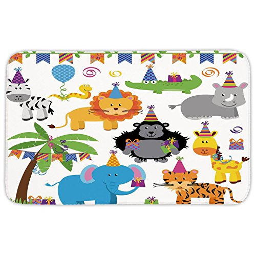 Imported Jungle Hat - Rectangular Area Rug Mat Rug,Birthday Decorations for Kids,Jungle Wild Animals in Cartoon Pattern Party Hats Flags Image,Multicolor,Home Decor Mat with Non Slip Backing