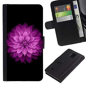 Paccase / Billetera de Cuero Caso del tirón Titular de la tarjeta Carcasa Funda para - Purple Lilac Petal Floral Flower Minimalist - Samsung Galaxy Note 4 SM-N910