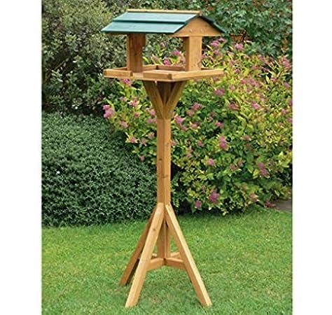 Tradicional casita de madera de pájaros de jardín, estación de alimentación con pie, alta calidad: Amazon.es: Jardín