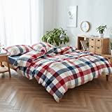 FACE TWO FACE 3-Piece Duvet Cover King,100% Washed Cotton Duvet Cover,Ultra Soft and Easy Care,Simple Style Bedding Set (King, Blue red Grid)