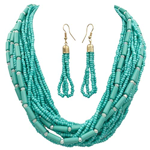Gypsy Jewels Layered Seed Bead Multi Strand Statement Necklace & Dangle Earrings Set (Aqua -