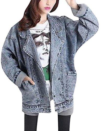 Babyhclub Women Wash Denim Oversized Double Buttoned Jeans